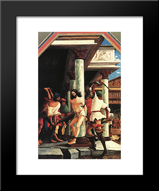 The Flagellation Of Christ: Modern Black Framed Art Print by Denys van Alsloot