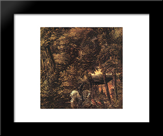 Saint George In The Forest: Modern Black Framed Art Print by Denys van Alsloot