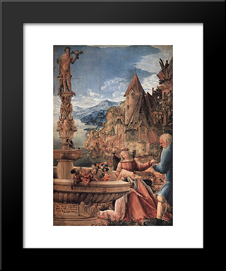 Rest On The Flight Into Egypt: Modern Black Framed Art Print by Denys van Alsloot