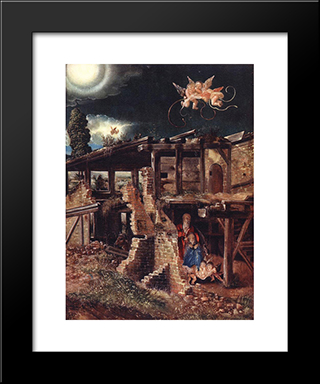 Nativity: Modern Black Framed Art Print by Denys van Alsloot