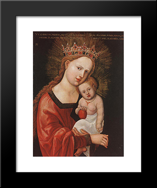 Mary With The Child: Modern Black Framed Art Print by Denys van Alsloot