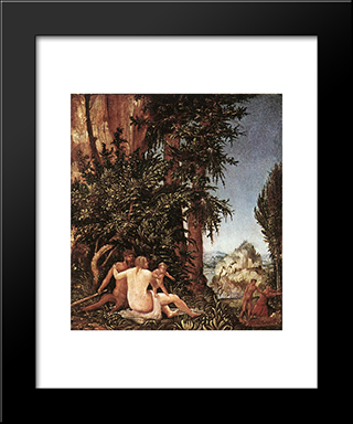 Landscape With Satyr Family: Modern Black Framed Art Print by Denys van Alsloot
