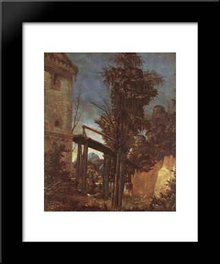 Landscape With A Path: Modern Black Framed Art Print by Denys van Alsloot