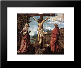 Christ On The Cross Between Mary And St. John: Modern Black Framed Art Print by Denys van Alsloot