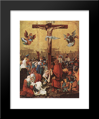 Christ On The Cross: Modern Black Framed Art Print by Denys van Alsloot