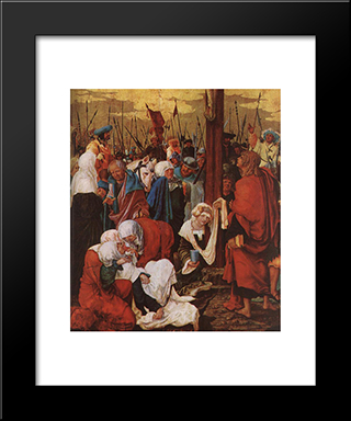 Christ On The Cross (Detail): Modern Black Framed Art Print by Denys van Alsloot