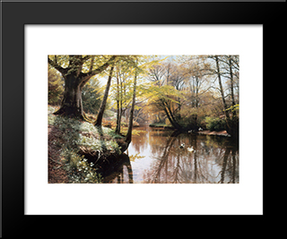 Flodlandskab: Modern Black Framed Art Print by Peder Mork Monsted