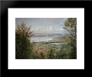 Himmelbjergit, View Over Jul Lake (From H.C. Andersen'S Creek): Modern Black Framed Art Print by Peder Mork Monsted