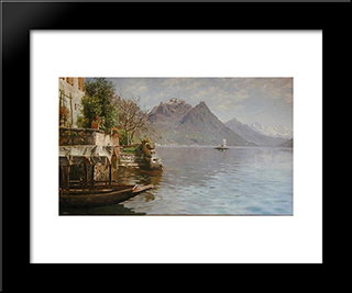 Gandria Lago Di Lugano: Modern Black Framed Art Print by Peder Mork Monsted