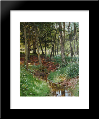 Landscape With Deer: Modern Black Framed Art Print by Peder Mork Monsted