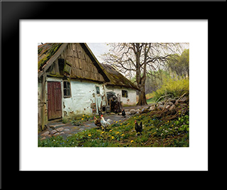 Bromolle Farm With Chickens: Modern Black Framed Art Print by Peder Mork Monsted