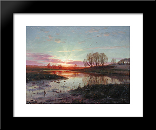 Evening At Naesbyholm: Modern Black Framed Art Print by Peder Mork Monsted