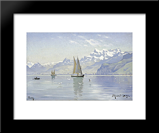 View Of Lake, Vevey: Modern Black Framed Art Print by Peder Mork Monsted