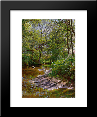 A River Landscape: Modern Black Framed Art Print by Peder Mork Monsted