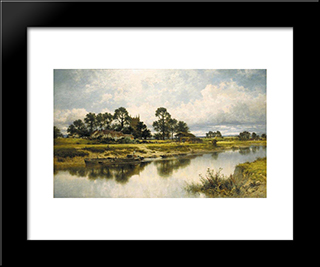 Severn Side, Sabrina'S Stream At Kempsey On The River Severn: Modern Black Framed Art Print by Benjamin Williams Leader