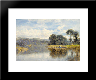 A Fine Day On The Thames: Modern Black Framed Art Print by Benjamin Williams Leader