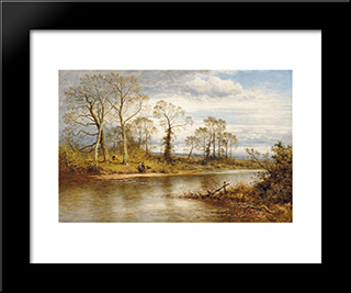 An English River In Autumn: Modern Black Framed Art Print by Benjamin Williams Leader