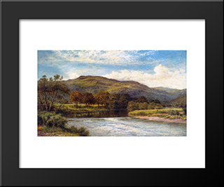 The Conway Near Bettws Y Coed: Modern Black Framed Art Print by Benjamin Williams Leader