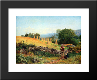 A Welsh Cornfield: Modern Black Framed Art Print by Benjamin Williams Leader