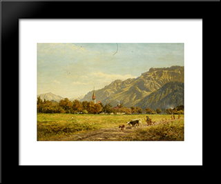 A Fine Autumn Day At Interlaken: Modern Black Framed Art Print by Benjamin Williams Leader