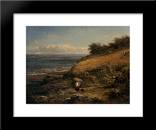 Harvest Time On The Coast Of Arran: Modern Black Framed Art Print by Benjamin Williams Leader
