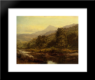 Island On The Llugwy Curig: Modern Black Framed Art Print by Benjamin Williams Leader