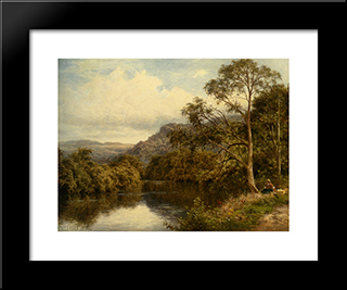On The River Conway: Modern Black Framed Art Print by Benjamin Williams Leader