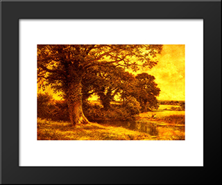 A Woodland Pool: Modern Black Framed Art Print by Benjamin Williams Leader