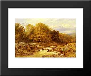 On The Llugwy, North Wales: Modern Black Framed Art Print by Benjamin Williams Leader