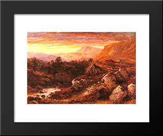 The Valley Of The Lleder, North Wales: Modern Black Framed Art Print by Benjamin Williams Leader