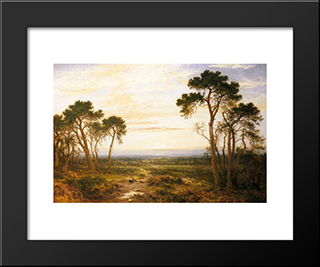 Across The Heath: Modern Black Framed Art Print by Benjamin Williams Leader