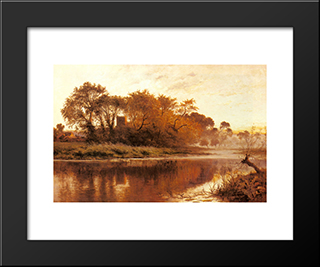 The Last Gleam, Wargrave On Thames: Modern Black Framed Art Print by Benjamin Williams Leader