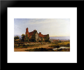 An Old Surrey Home: Modern Black Framed Art Print by Benjamin Williams Leader