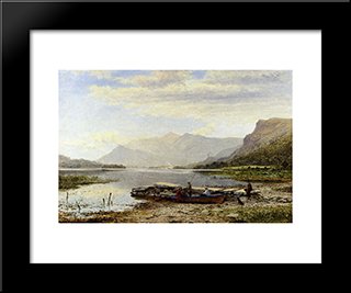 Derwentwater From Ladore: Morning, With Skiddaw In The Distance: Modern Black Framed Art Print by Benjamin Williams Leader