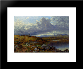 A Solitary Lake, Wales: Modern Black Framed Art Print by Benjamin Williams Leader