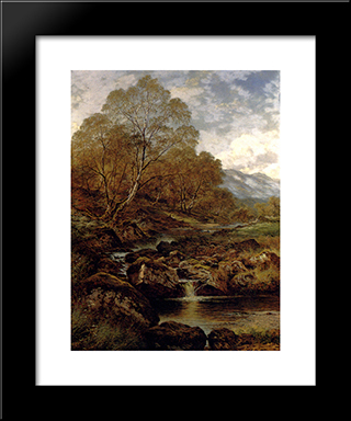The Stream From The Hills Of Wales: Modern Black Framed Art Print by Benjamin Williams Leader