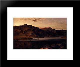 When The West With Evening Glows: Modern Black Framed Art Print by Benjamin Williams Leader