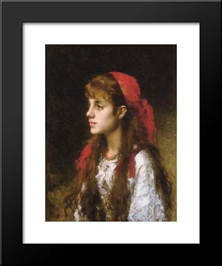 A Russian Beauty: Modern Black Framed Art Print by Alexei Alexeivich Harlamoff