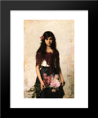The Flower Seller: Modern Black Framed Art Print by Alexei Alexeivich Harlamoff