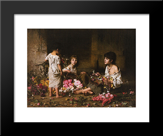 The Flower Girls: Modern Black Framed Art Print by Alexei Alexeivich Harlamoff