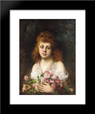 Auburn'Haired Beauty With Bouqet Of Roses: Modern Black Framed Art Print by Alexei Alexeivich Harlamoff