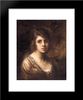 Young Brunette: Modern Black Framed Art Print by Alexei Alexeivich Harlamoff