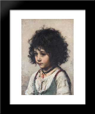 Young Girl: Modern Black Framed Art Print by Alexei Alexeivich Harlamoff