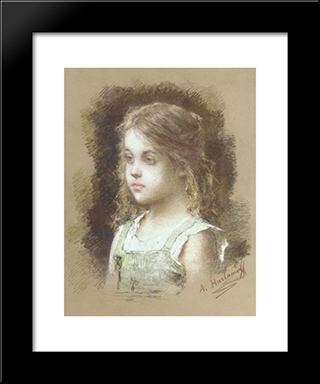 Young Girl In A Green Tunic: Modern Black Framed Art Print by Alexei Alexeivich Harlamoff