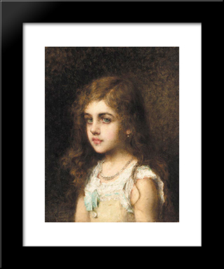 Young Girl With A Turquoise Bow: Modern Black Framed Art Print by Alexei Alexeivich Harlamoff