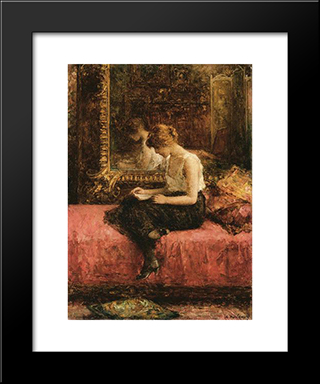 Literary Pursuits Of A Young Lady: Modern Black Framed Art Print by Alexei Alexeivich Harlamoff