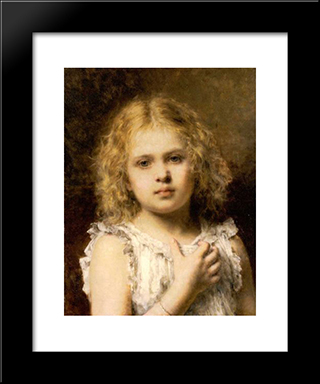 A Young Beauty: Modern Black Framed Art Print by Alexei Alexeivich Harlamoff
