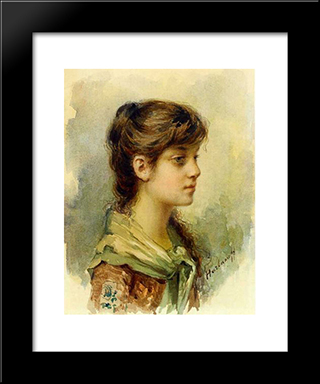The Artist'S Daughter: Modern Black Framed Art Print by Alexei Alexeivich Harlamoff