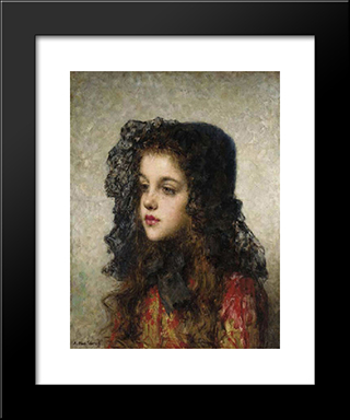 Little Girl With Head'Dress: Modern Black Framed Art Print by Alexei Alexeivich Harlamoff
