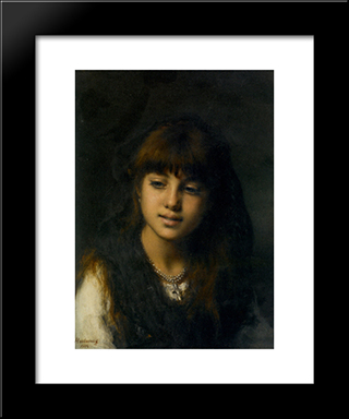 A Young Girl: Modern Black Framed Art Print by Alexei Alexeivich Harlamoff